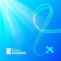 Airplane on blue background with banner vector illustration Stock Photo
