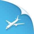 Airplane on blue background white paper illustration Stock Images