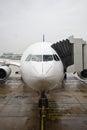 Airplane boarding in the rain
