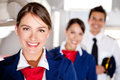 Airplane cabin crew Stock Photo