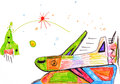 Airplane. children's drawing. Royalty Free Stock Photos
