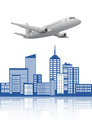 Airplane city illustration of modern with Royalty Free Stock Image