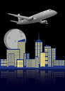 Airplane city illustration of modern with Royalty Free Stock Photo