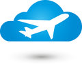 Airplane and cloud, airplane and transportation logo