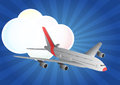 Airplane cloud illustration of with and sunburst Royalty Free Stock Images