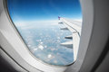 Airplane cloud view through window Royalty Free Stock Photos