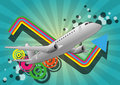 Airplane color graphic illustration of with colors in background Royalty Free Stock Photography