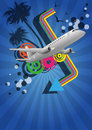 Airplane color graphic illustration of with colors in background Stock Photos