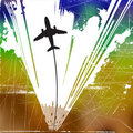 Airplane with colorful background Royalty Free Stock Images