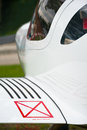 Airplane detail close up of a small ultralight with no step sign Royalty Free Stock Image