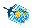 Airplane flying around a colourful earth globe for tavel or transportation industry concept Stock Photo
