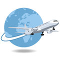 Airplane flying around the world at high speed Royalty Free Stock Images