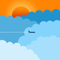 Airplane an flying between the clouds travel holiday concept Royalty Free Stock Photos