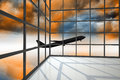 Airplane flying over orange sky past window in white room Royalty Free Stock Photo
