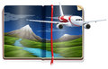 Airplane flying over the river scene in the book