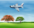 An airplane flying in the sky illustration of Stock Photos