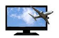 Airplane flying from TV Stock Photography
