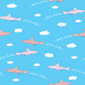 Airplane funny seamless Stock Image