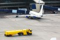 Airplane at gate and gangways for the plane Stock Photography