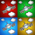 Airplane icon set of icons on a colorful leather background hi res digitally generated image Royalty Free Stock Photography