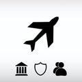 Airplane icon, vector illustration. Flat design style