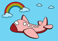 Airplane illustration of a plane and a rainbow in the blue sky Stock Images