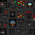Airplane instrument panel. Aircraft dashboard. Creative seamless pattern, Realistic wallpaper. Royalty Free Stock Photo