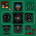Airplane instrument panel. Aircraft dashboard. Realistic background. Royalty Free Stock Photo