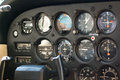 Airplane instrument panel in cockpit Royalty Free Stock Images