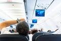 Airplane interior. Royalty Free Stock Photo