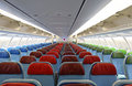 Airplane  interior with the seats Royalty Free Stock Photos