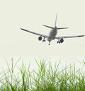 Airplane landing in front of grass land Stock Image