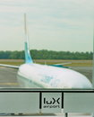 Airplane in Luxembourg airport Royalty Free Stock Photo
