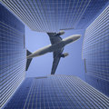 Airplane and the modern building Royalty Free Stock Image