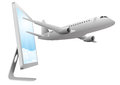 Airplane and monitor Royalty Free Stock Images