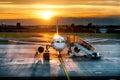 Airplane near the terminal in an airport Stock Photos