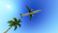 Airplane over the palm tree white passenger plane in blue sky flying Royalty Free Stock Image