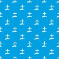 Airplane and palm pattern seamless blue
