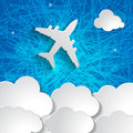 Airplane with paper clouds on a blue striped background Stock Image