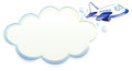 An airplane passing through the cloud illustration of on a white background Royalty Free Stock Photos