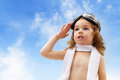 Airplane pilot a child plays an Royalty Free Stock Image