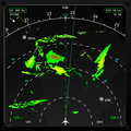 Airplane radar commercial airplanes on board displaying weather information vector Stock Photography