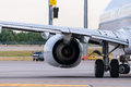Airplane ready to take off from runway. Blurred Royalty Free Stock Photo