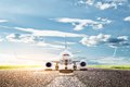 Airplane ready to take off transport travel from runway a big passenger or cargo aircraft airline transportation Royalty Free Stock Image