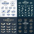 Airplane Retro Labels Construction Bundle. Plane Propellers Logos Set with Wings Symbols, Shields Icons and Decorative Royalty Free Stock Photo
