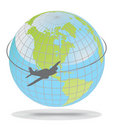 Airplane route around the world Royalty Free Stock Images