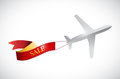 Airplane and sale ribbon illustration design over a white background Stock Image