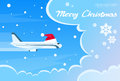 Airplane Santa Red Christmas Hat Cloud Blue Sky Royalty Free Stock Photo