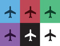 Airplane silhouette colors in different Stock Image