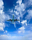 Airplane in the sky passenger airliner aircraft Royalty Free Stock Photo